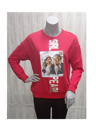 Кофта свитшот женская молодежная красная с принтом инертним фото