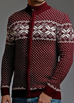 Теплый мужской свитер на молнии 5 цветов бордовый (mgd.0028.3)