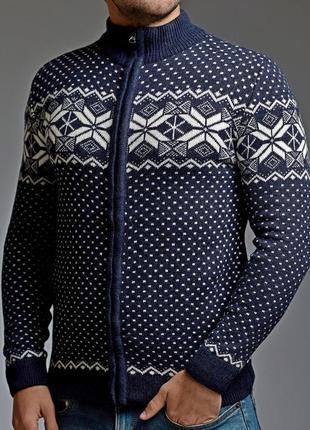 Теплый мужской свитер на молнии 5 цветов синий (mgd.0028.4)