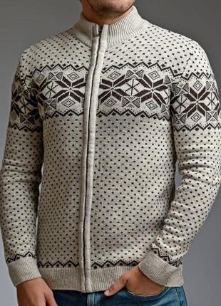 Теплый мужской свитер на молнии 5 цветов бежевый (mgd.0028.5)