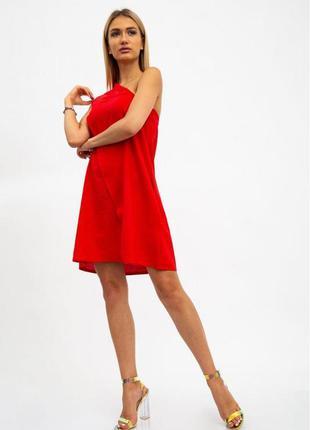 Платье асимметрия  цвет красный