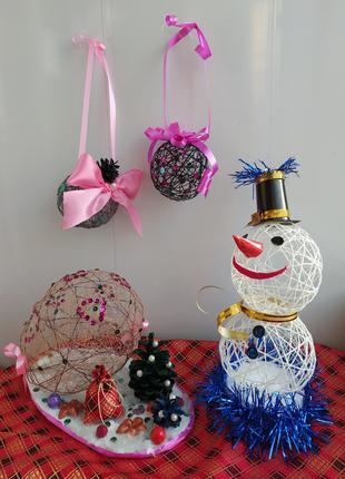 Снеговик и новогодние композиции ручной работы