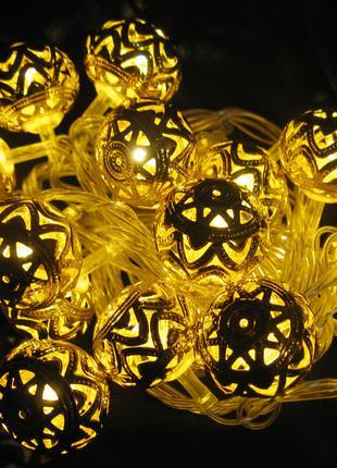 Гирлянда . Золотые шарики . 20 шт. золотых шариков .