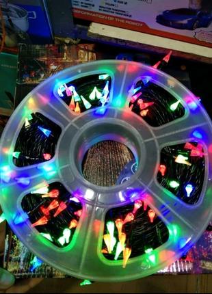 Уличная LED гирлянда 50м на бабине мультицветная