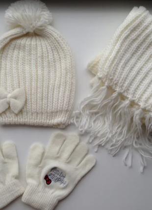 3шт. комплект шапочка перчатки шарфик 3-6лет
