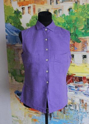 Блуза рубашка льняная лен жилет сиреневая фиолетовая хлопок тр...