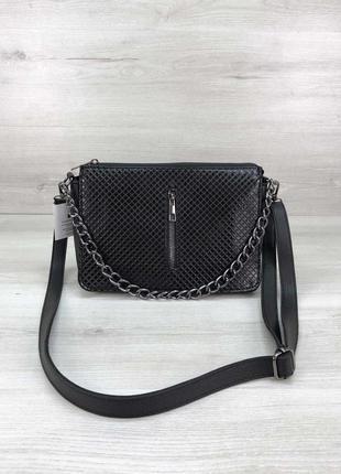 Маленькая женская сумка через плечо лаковая черная кросс-боди