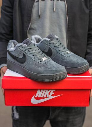 ❄️❄️❄️кросовки мужские зима найки❄️❄️❄️nike air force dark grey