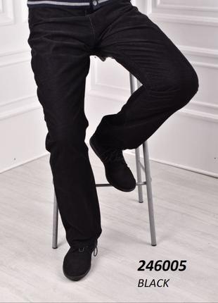 Мужские утепленные брюки вельвет черные