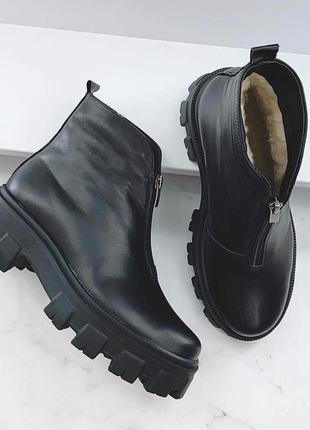 Зимние ботинки кожаные чёрные на платформе
