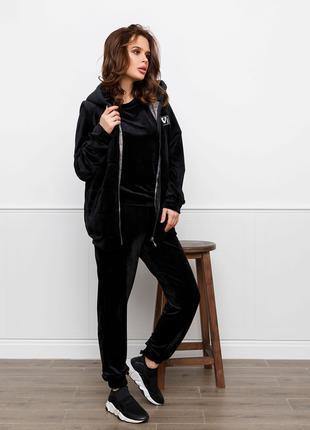 Велюровий жіночий костюм-трійка чорний S-XL