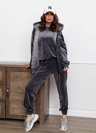 Велюровий жіночий костюм-трійка сірий S-XL