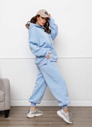 Теплий жіночий костюм трикотаж на флісі блакитний S-XL