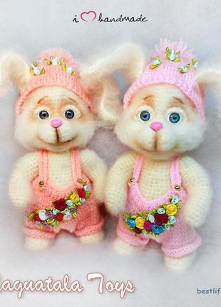 """Вязаная игрушка """"Весенний зайка"""" заяц крючком подарок малышу"""