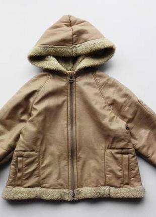Zara. дублёнка деми, куртка с капюшоном. 92 - 98 размер.