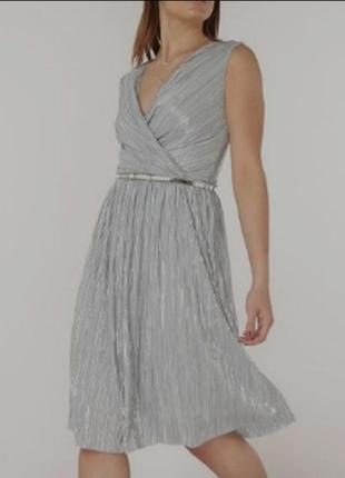 Платье billy & blossom с серебренным плиссе,плиссированое, пли...