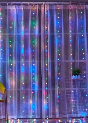 """Разноцветная светодиодная гирлянда-штора медная с пультом """"Водопа"""