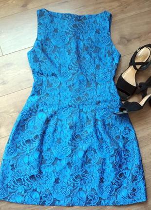 Нарядное синее платье с принтом s-m
