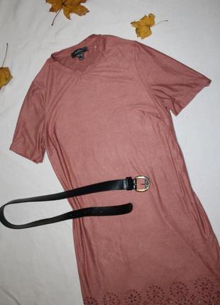 Платье мини из эко-замши/ плаття майка