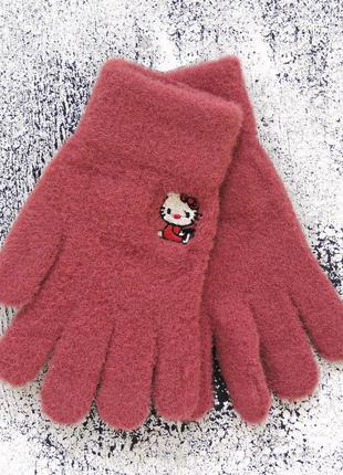 "Детские перчатки ""hello kitty"" бордовые"