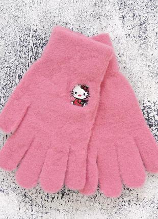 "Детские перчатки ""hello kitty"" малиновые"