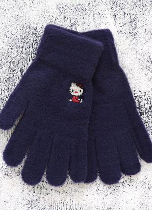 """Детские перчатки """"hello kitty"""" тёмно-синие"""