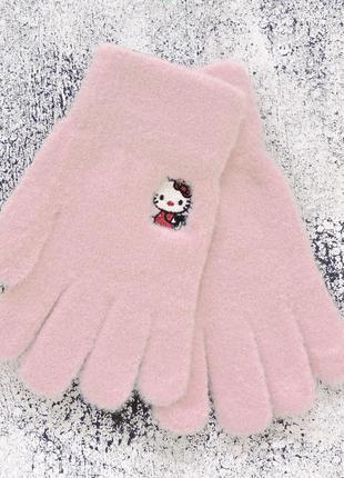"Детские перчатки ""hello kitty"" пудра"