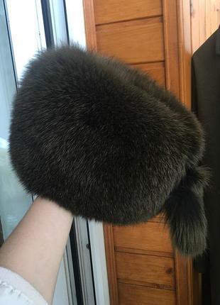 Натуральная меховая песцовая шапка (песец)