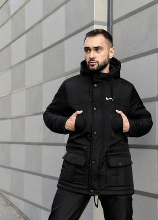 Зимняя парка nike мужская / черная / куртка / пуховик / наложе...