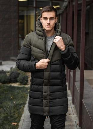 Зимняя мужская куртка парка ZiR черная пуховик удлиненный хаки