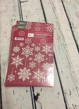 Новогодние многоразовые наклейки снежинки стикеры melinera