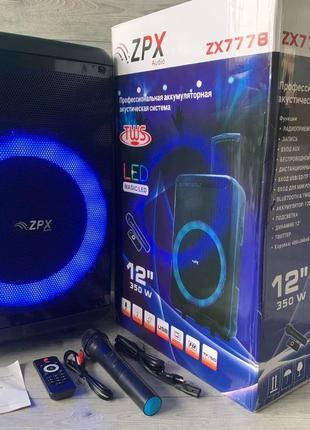 Колонка аккумуляторная с микрофоном ZPX 7778 200W (Bluetooth/U...