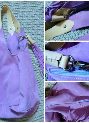Шикарная  итальянская большая замшевая сумка
