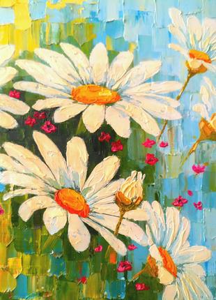 Картина маслом интерьерная абстракция холст цветы РОМАШКИ букет