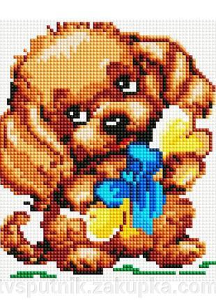 Алмазная вышивка «Собачка с подарком»(Код:351-ST-S)