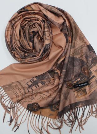 Кашемировый теплый шарф-палантин