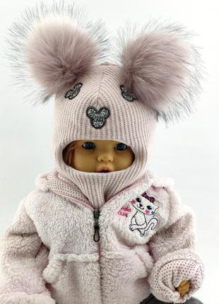 Шапка вязаная детская 50-52, 52-54 размер шлем