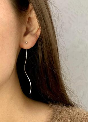 Женские серьги серебряные висячие протяжки подвески сережки