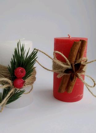 Декоративные свечи новогодние свеча цилиндр
