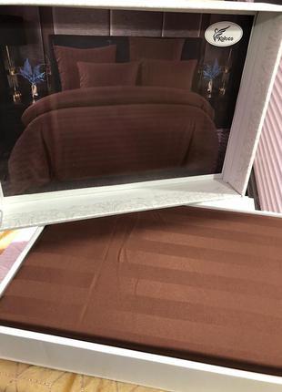 Комплект постельного белья евро размера из страйп сатина