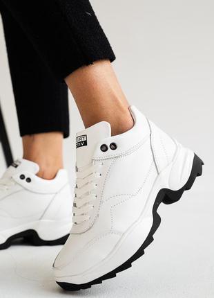 Женские кроссовки кожаные зимние белые