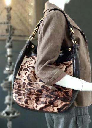 Furla. крупная сумка из натуральной кожи и натурального меха.