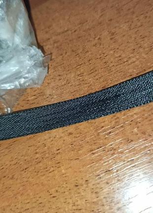 Атласная лента двойная цвет черный 8 мм