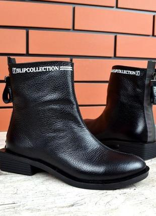 Натуральная кожа стильные кожаные осенние ботинки на квадратно...