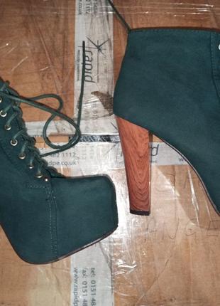 Ботильоны ботинки на каблуке на шнуровке