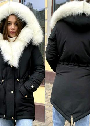 Женская зимняя куртка, парка с экомехом