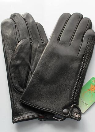 Мужские кожаные перчатки подкладка махра