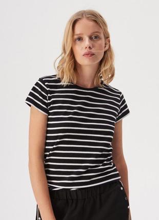 Новая модная полосатая черная футболка белая полоска польша хл...