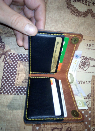 Кожаный кошелек портмоне ручной работы, портмане  кожи