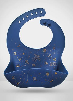 Слюнявчик силиконовый с карманом Созвездие Синий